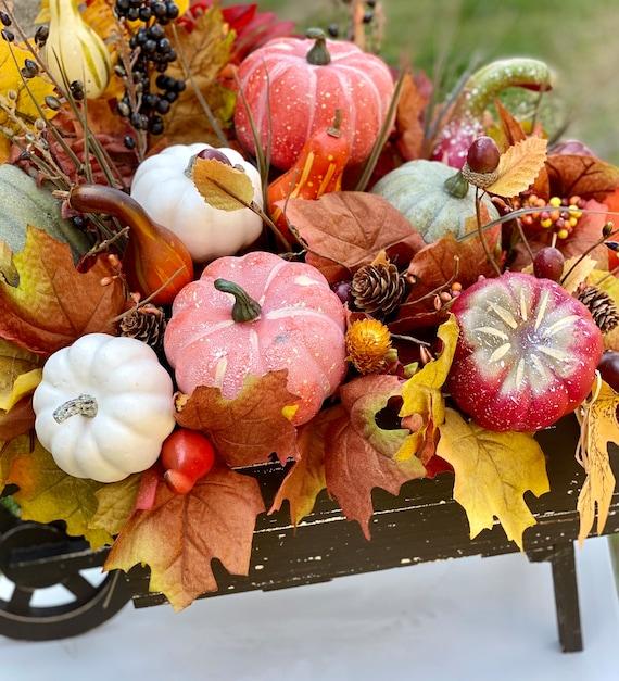 Fall Flower Arrangement in Wheelbarrow, Autumn Decor, Fall Floral Centerpiece, Fall Decor