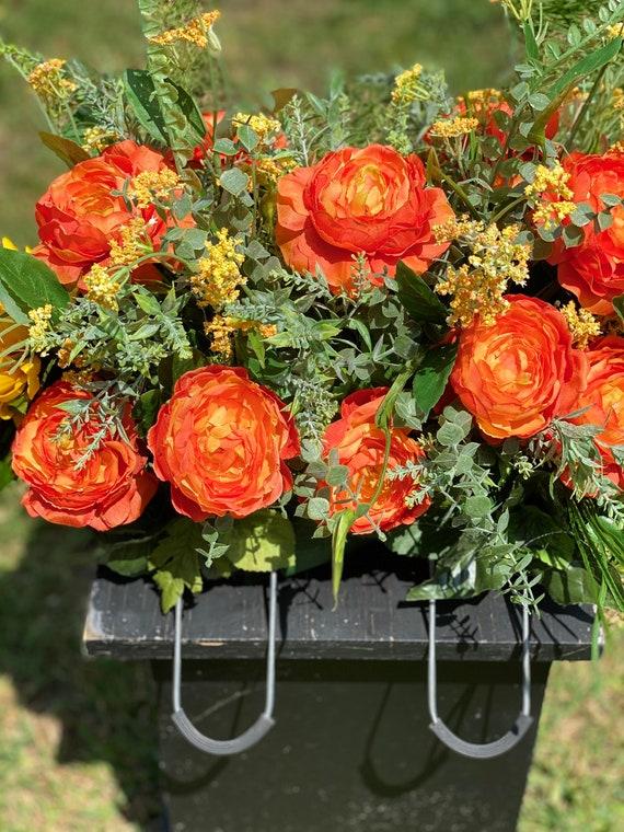 Cemetery Saddle, Headstone Arrangement, Cemetery Arrangement, Memorial Flowers for the Cemetery, Headstone Saddle, Memorial Flowers