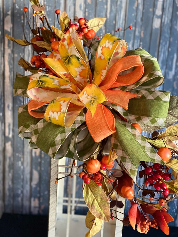 Fall Swag for Lantern, Lantern Swag, Fall Decor, Lantern Bow, Autumn Decor
