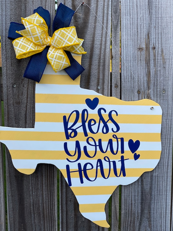 Bless Your Heart, Texas Sign, Rustic Texas Decor, Texas Wall Decor, Texas Door Hanger, Texas Wall Hanging, Texas Gifts, Wood Porch Sign