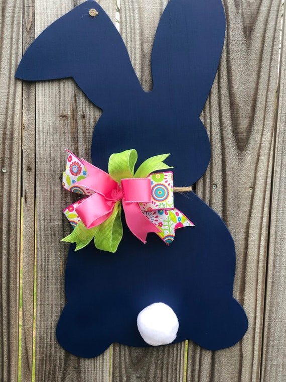 Bunny Navy Blue Door Hanger, Easter, Easter Door Hanger, Wooden Bunny, Wooden Spring Door Hanger, Easter Decorations, Bunny Decor