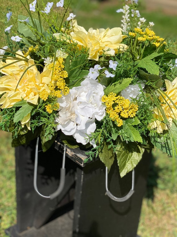 Headstone Saddle, Yellow Flowers, White Flowers, Floral Mix, Cemetery Arrangement, Saddle, Headstone Saddle, Flower Saddle, Funeral