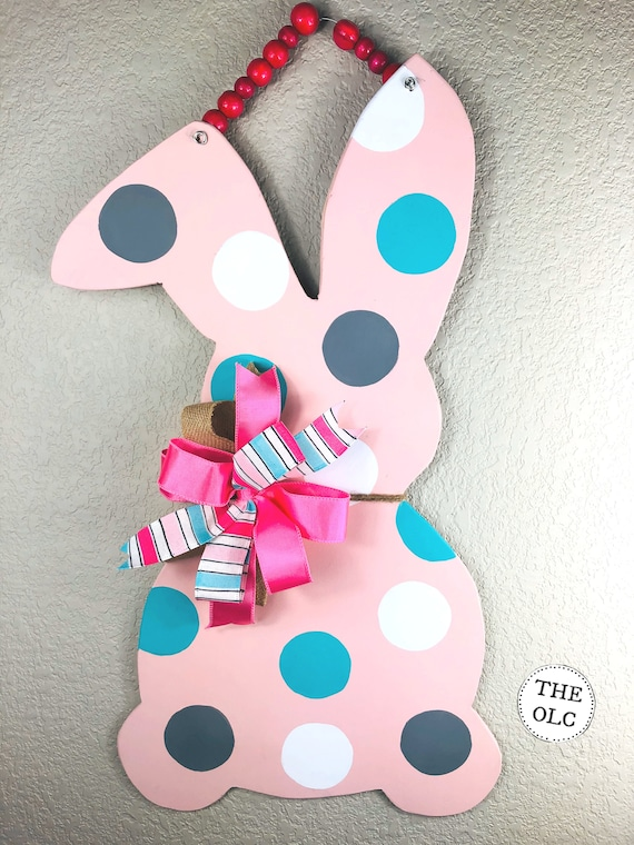 Easter, Door Hanger, Bunny, Rabbit Door Hanger, Easter Decor, Polka Dot Bunny, Wooden Bunny, Spring Decorations, Wooden Bunny Rabbit