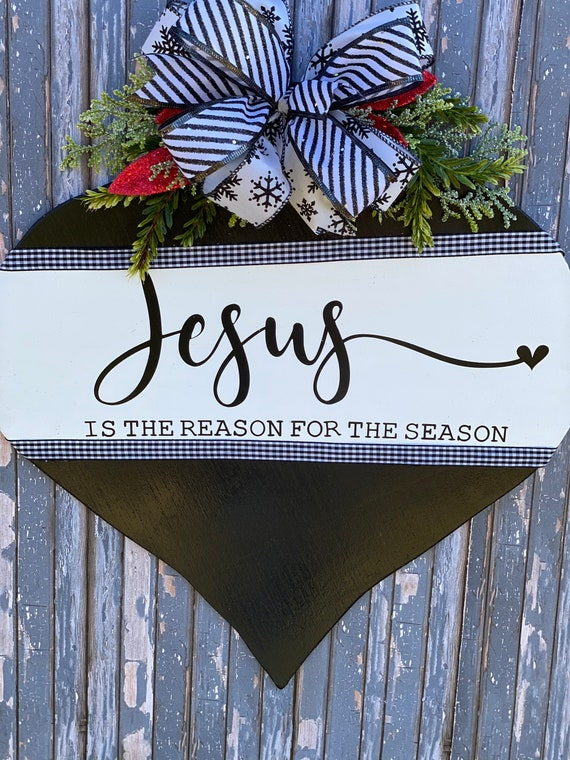 Christmas Door Hanger, Holiday Wall Decor, Buffalo Plaid Christmas Decor, Jesus is the Reason Christmas Wreath, Christmas Front Door Decor