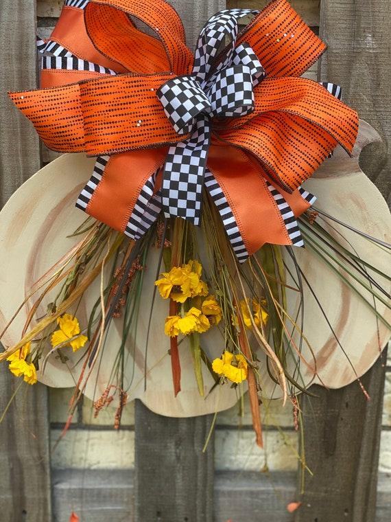 Wall Decor, Pumpkin Door Hanger, Fall Decor, Pumpkin Floral Decor