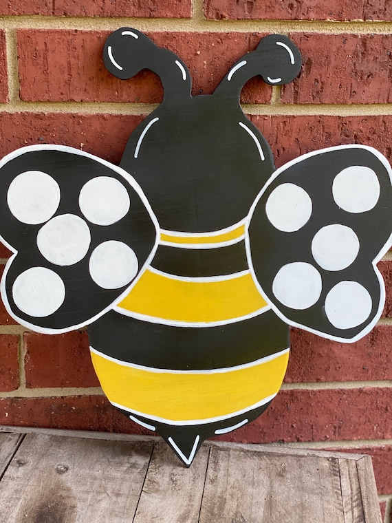 Bumble Bee Wreath Attachment, Bumble Bee Sign, Wood Bumble Bee, Wreath Attachment, Wreath Supplies Bee Theme, Wreath and Sign