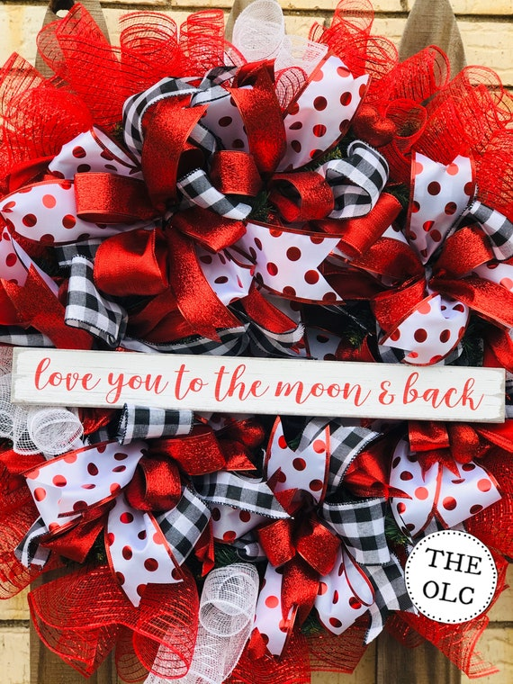 Valentines Day Wreath, Valentine's Day Decor, Valentine's Day Door Decor, Valentines Day Sign, Front Door Wreath for Valentines, Red, White