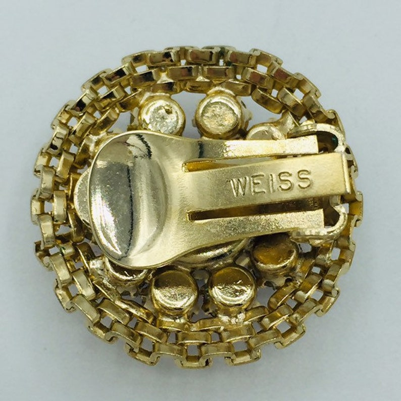 Vintage Signed Weiss Gold Tone Parure Necklace Brooch Earrings Purple Fuschia Pink