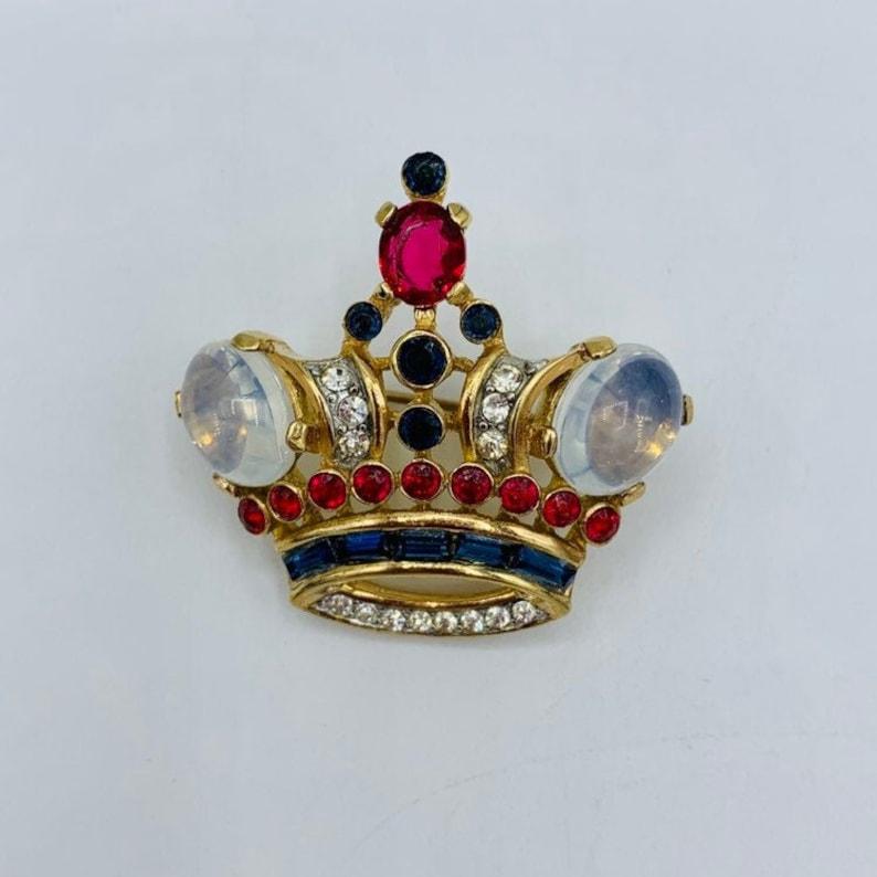 Trifari Sterling Brooch 1944 Alfred Philippe Coronation Queen Crown Moonstone Cabochon Red Blue Rhinestone
