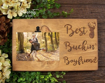 Best Buckin Boyfriend Gift Couple Picture Frame Funny Birthday For Deer Hunting Anniversary Him Hunter