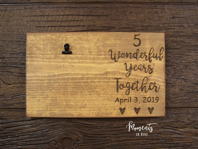 Picture Frame Wood Anniversary Gift for Him for Her Personalized Anniversary Gift for Couple Gift 5 Year Anniversary Gift for Husband Wife