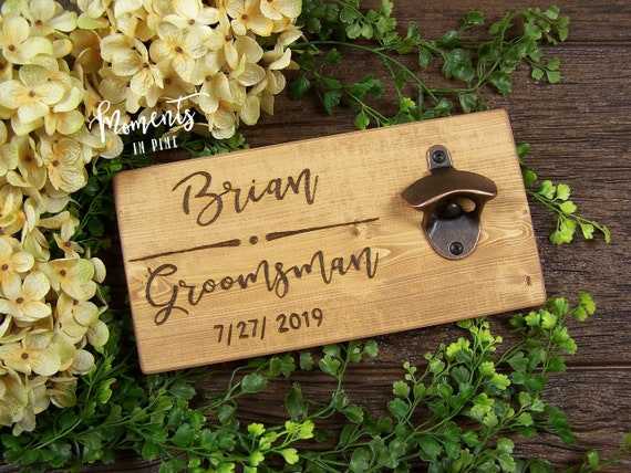 Change Details Best Man Wedding Gift Personalised Bottle Opener