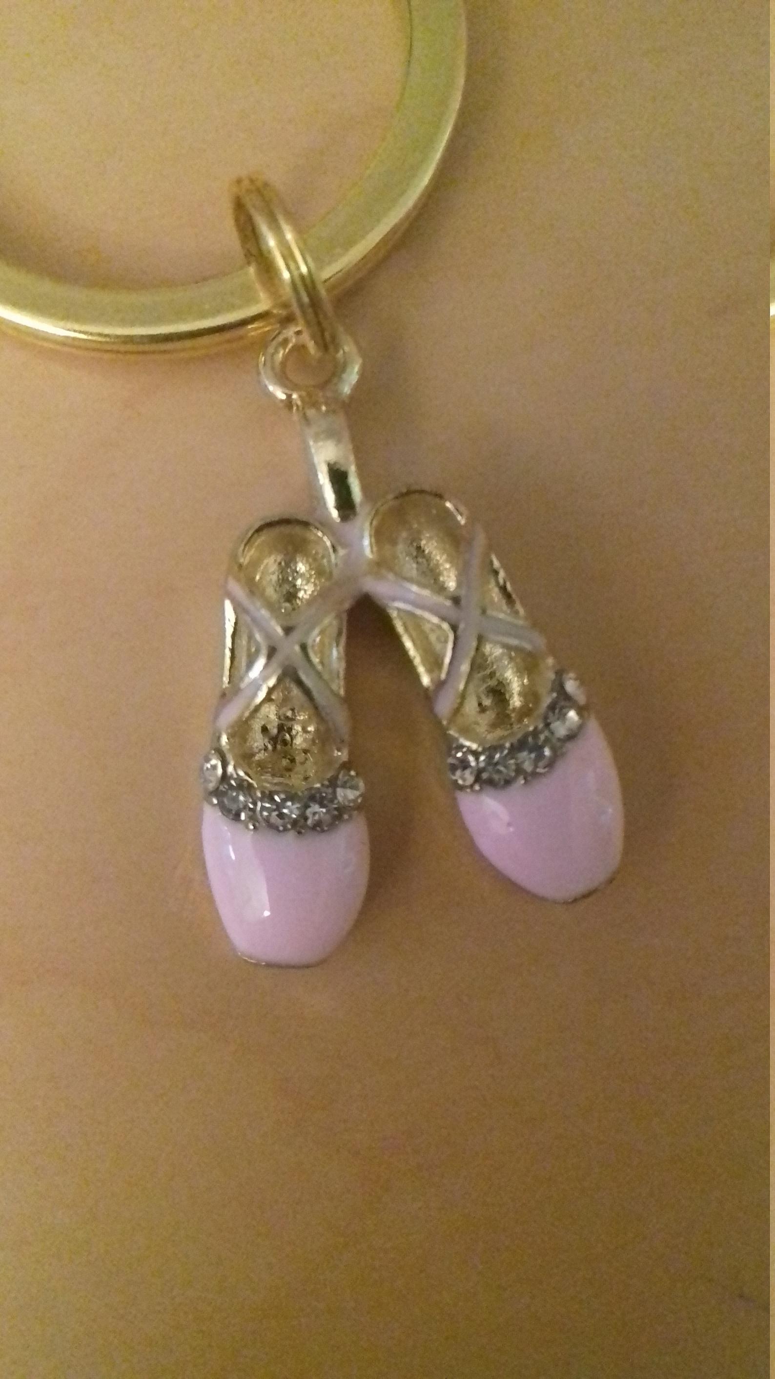 ballerina keyring, pointe shoes, ballet shoes, ballet gift, dance teacher gift, diamanté, keyring, uk seller, gold, pink, dance