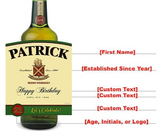 Jameson Whiskey Label, Jameson Label, Custom Jameson Bottle, Jameson Whiskey, Jameson Birthday Gift