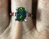 Vintage Oval Black Opal Garnets Baguettes Ring