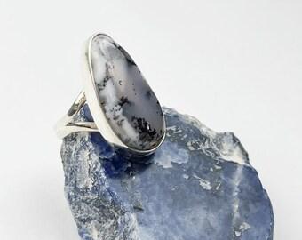 Silver Ring Birthstone Rose cut gemstone Ring Boho ring Handmade Ring Dendrite Opal 7 US Bezel Ring Silver Jewelry Bezel Ring