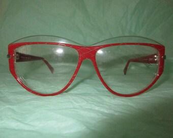 1f44a0d68f NOS Silhouette RED frames eyeglasses harlequin checkered vintage 80s  deadstock Hip hip