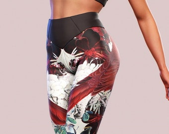 1915a39613d91 Fire Bird Leggings Feather Printed Yoga Pants Fenix Print Japanese Flower Women  Tights Workout Activewear Fitness Gym Clothing Shape Sculpt