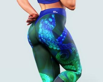 5c745d69fc8a4 Octopus Yoga Pants | Tentacle Neon Leggings Women Workout Clothing High  Waist Tights Squat Proof Activewear Mermaid Print Blue Festival Gym