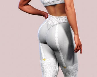 da8e044eda0f16 Garter Lace Leggings Grey Women Yoga Pants Suspenders Printed Tights Gray  Plus Size Shaping Clothing Workout Apparel Fitness Clothes Gym Fit