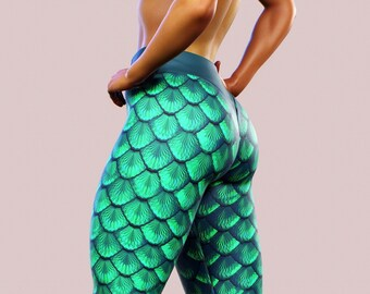 72eb6840dbd0b9 Green Mermaid Leggings Dragon Yoga Pants Scales Women Gym Clothing Fish  Ocean Streetwear Lycra Plus Size Shaping Activewear Printed Sport