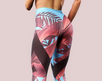 d77230198acfa Geometry Leggings Palm Leaves Tropical Printed Tights Tropic Jungle Pattern  Shaping Booty Yoga Pants Women Activewear Sky Blue Red Floral