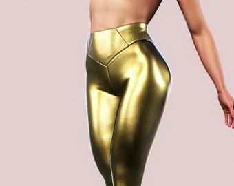 7e0562976d Shiny gold leggings | Etsy