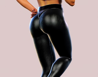 302b9b3c06fb4 Faux Leather Leggings Sexy Wet Latex Look Yoga Pants Stretchable Women BDSM  Tights Black Shaping Trousers Booty Lifting Sculpting Tight Fit