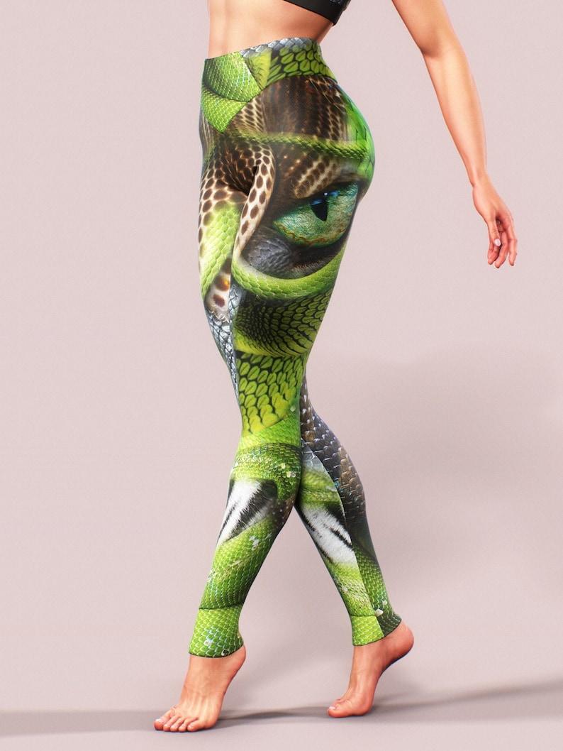 Wildlife Leggings Exercise Snake Skin Workout Tights Tiger Eye Leopard Yoga Pants Women Fitness Clothing Green Reptile Pattern Shaping Dance