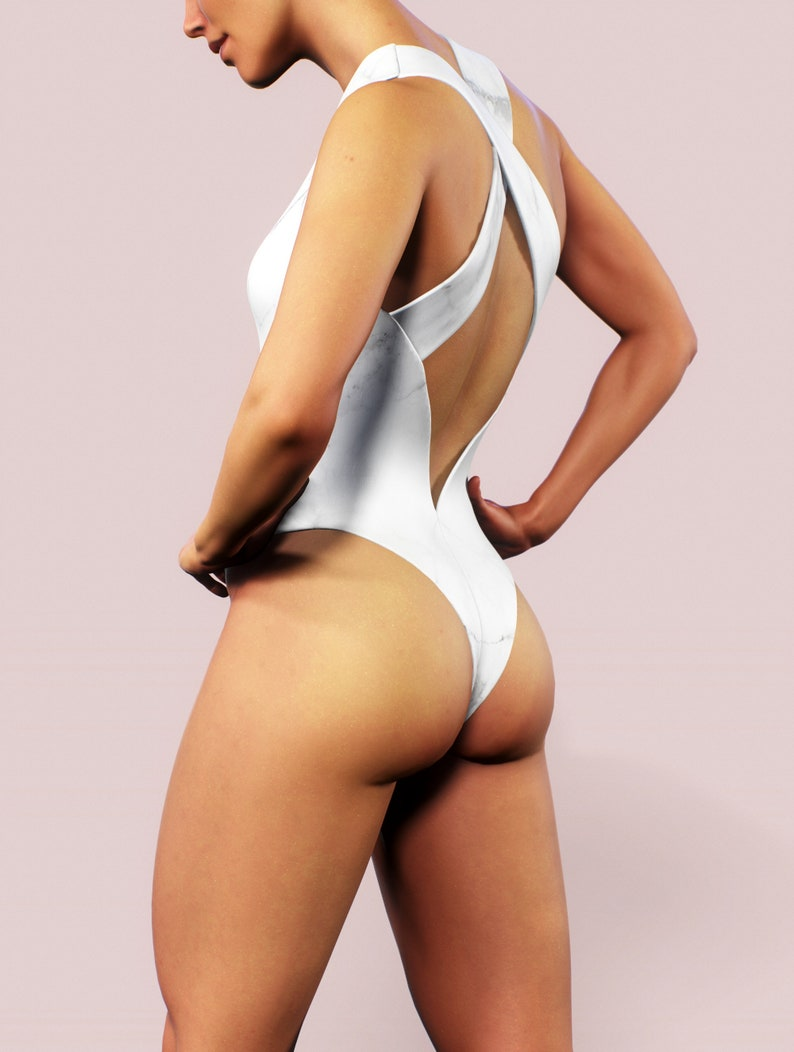 8e8623ec461 Marble Swimsuit Printed One Piece Women Beachwear White | Etsy