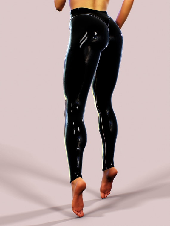 Latex Look Rubber Leggings BDSM Women Clothing Black Wet Look Shiny Yoga Pants Street Wear Extravagant Shaping PVC Tights Vinyl Plus Size