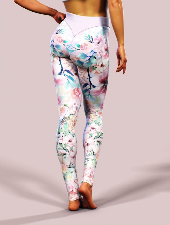 b1a5a6104b6ac Spring Blossom Leggings Japanese Flowers Floral Yoga Pants | Etsy