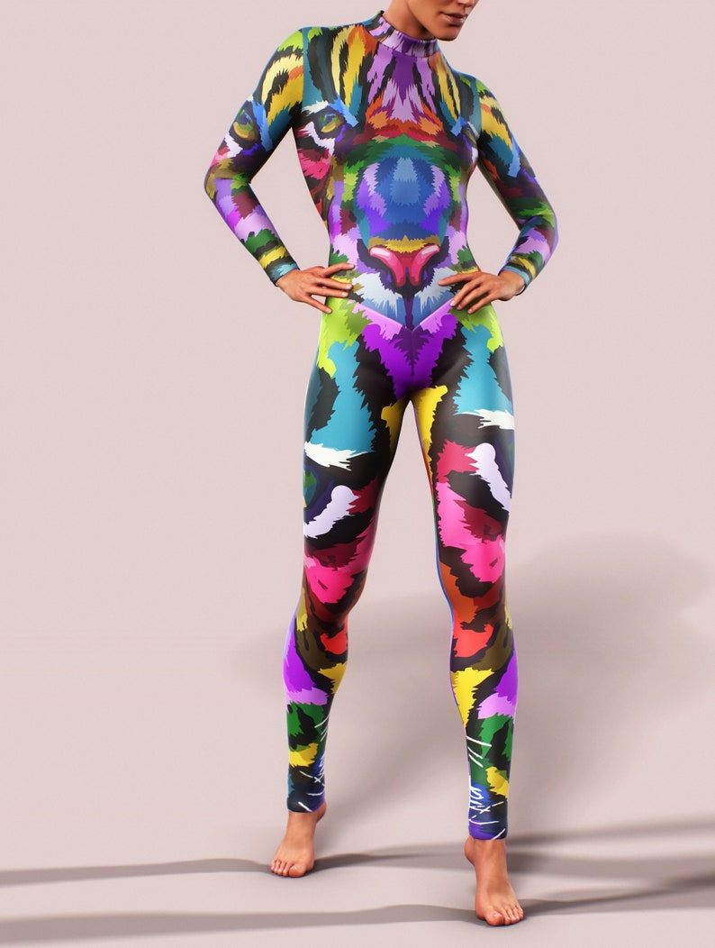 7d1dd65e78220 Psy Tiger Long Sleeve Bodysuit Workout Women Clothing | Etsy