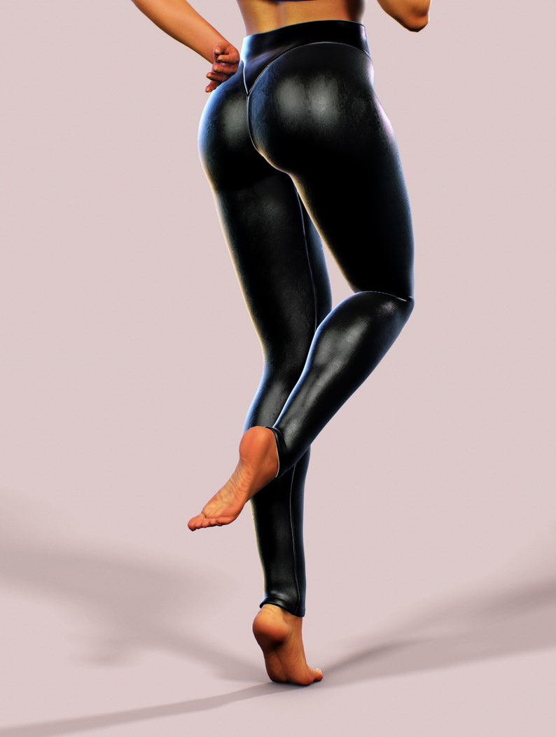 a64ab8544180f Faux Leather Leggings Sexy Wet Latex Look Yoga Pants | Etsy