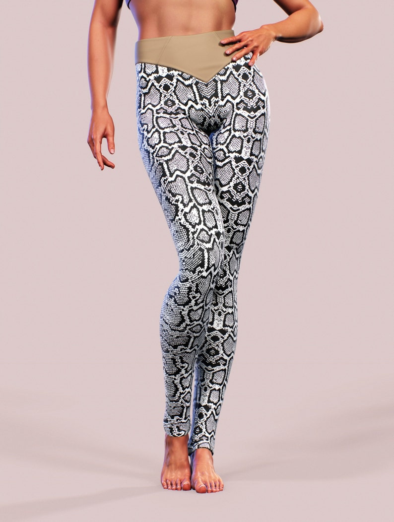 c10289a910 White Python Leggings Snake Skin Animal Print Body Shaping