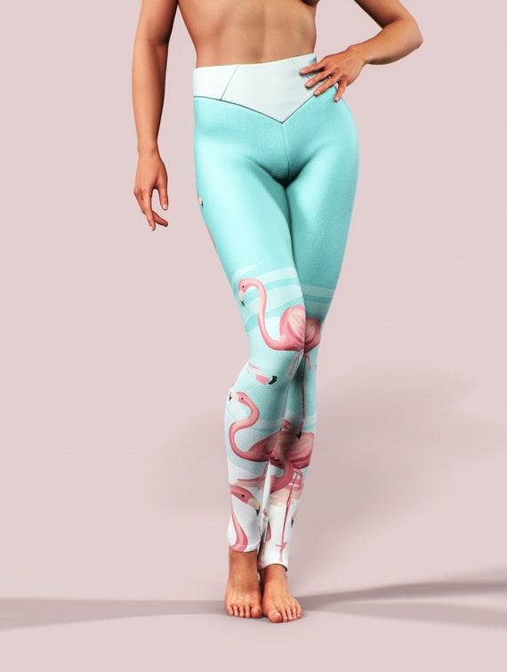 Flamingos In Sunglasses Yoga Leggings Capri 3//4 Length Low Waist