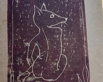Linocut of a fox woman on A6 card + envelope