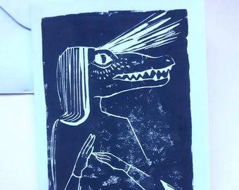Linocut of a crocodile woman on A6 card + envelope