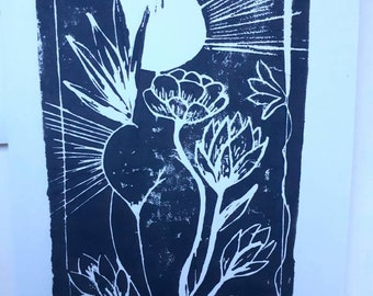 Linocut of a pregnant woman on A6 card + envelope