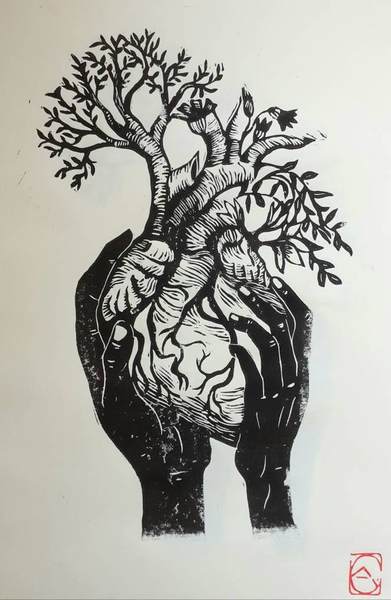 Linocut hands and flowery heart format A4 image 0