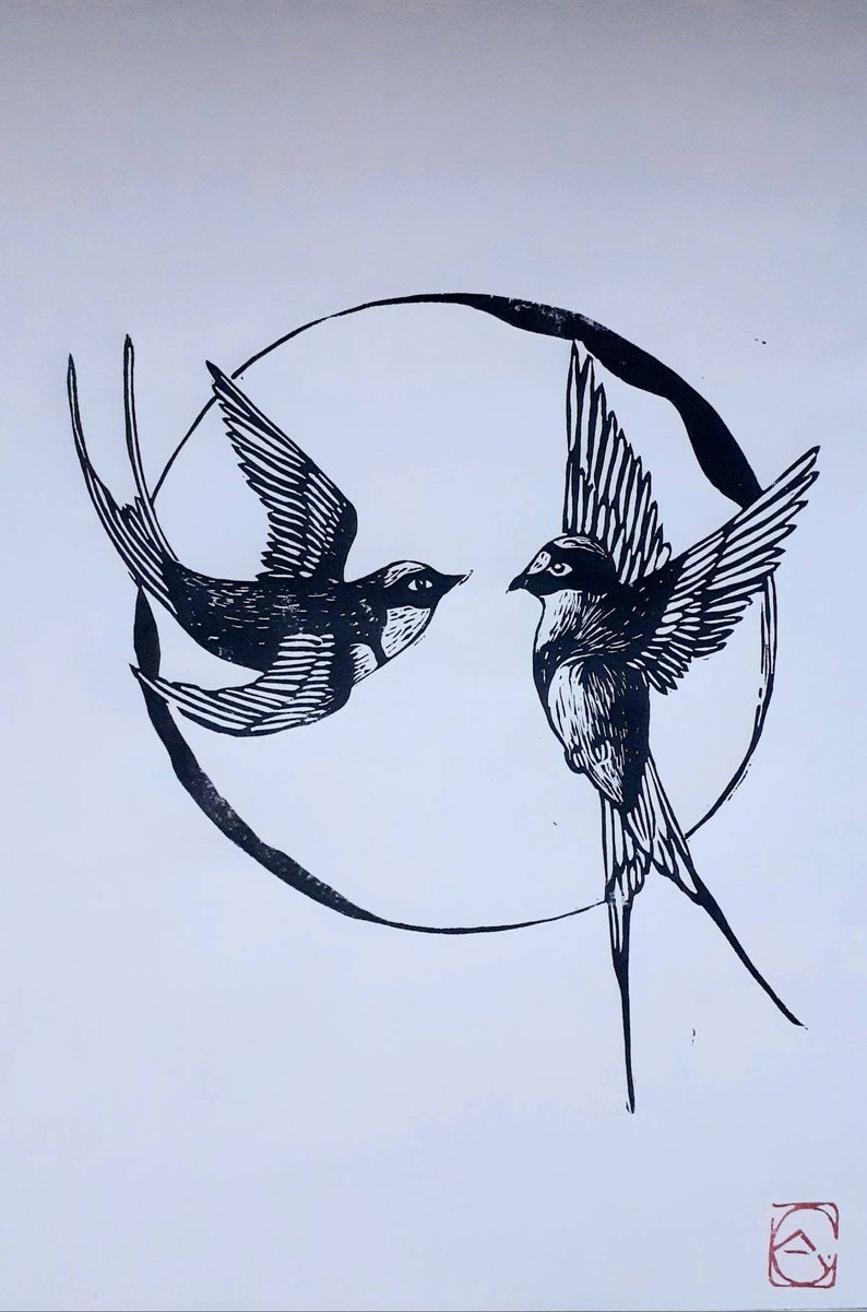 Linocut of 2 swallows format  A4 image 0