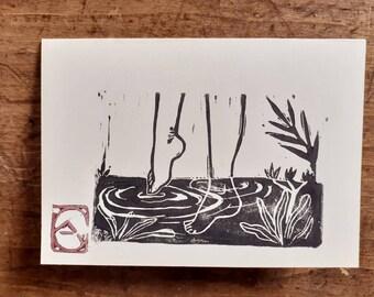 Linocut of feet in water on board A6 + envelope