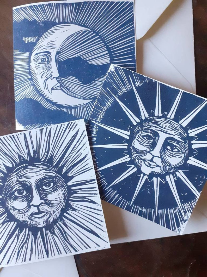 Set of 3 linograved maps moon sun & star. image 0