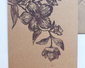 Linocut of flowers on A6 card + envelope