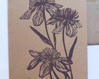 Linocut of flowers card A6 + envelope
