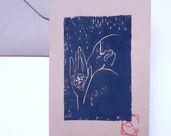 Linocut of a back man on A6 card + envelope