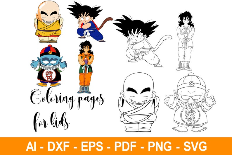 Dragonball Z Svg Dragonball Z Clipart Dragonball Z Cricut Dragonball Z Krillin Goku Pillaf Yamcha Coloring Pages For Kids Svg