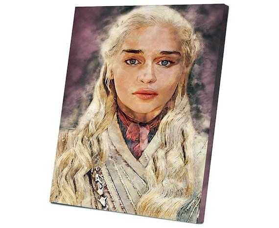 Game Of Thrones Daenerys Targaryen Emilia Clarke House Targaryen Stretched Canvas
