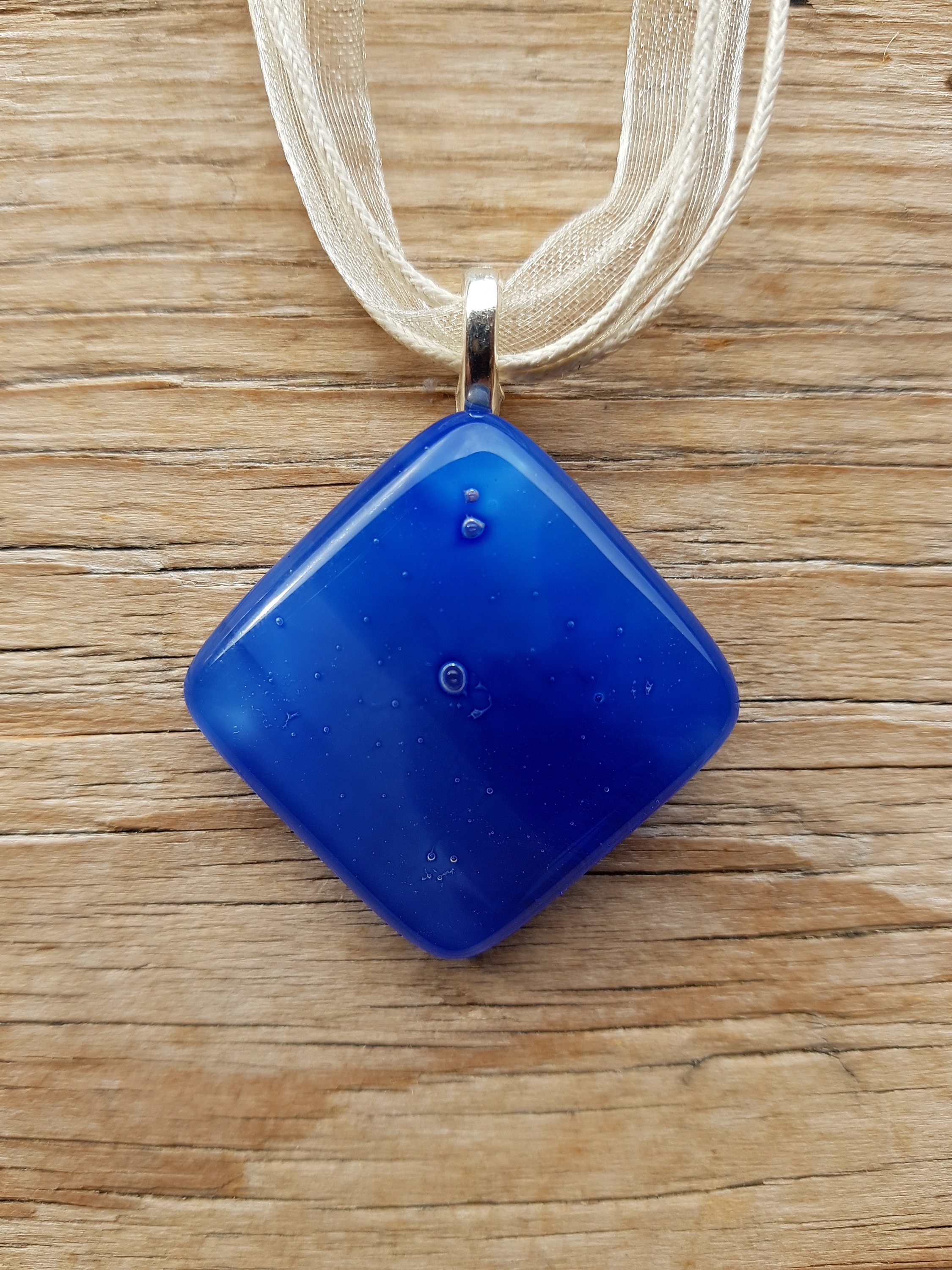Handmade Dichroic Glass Pendant Necklace Blue Green with Silver Colour Cord