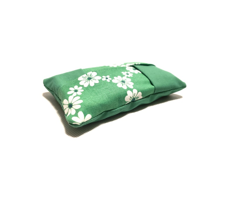 Backpack Green and White Hawaiian Flower Pattern Tissue Holder Cozy Teachers Runny nose Back to School Travel Size Purse